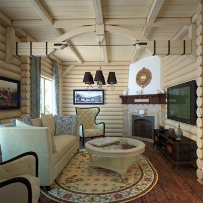 Дизайнерский интерьер деревянного дома