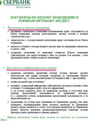 Документы по рефинансируемому кредиту