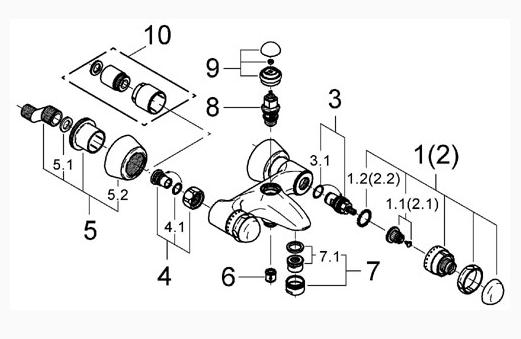 Схема разборки смесителя GROHE